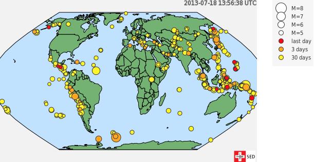 Сейсмологическая активнось в мире за последний месяц