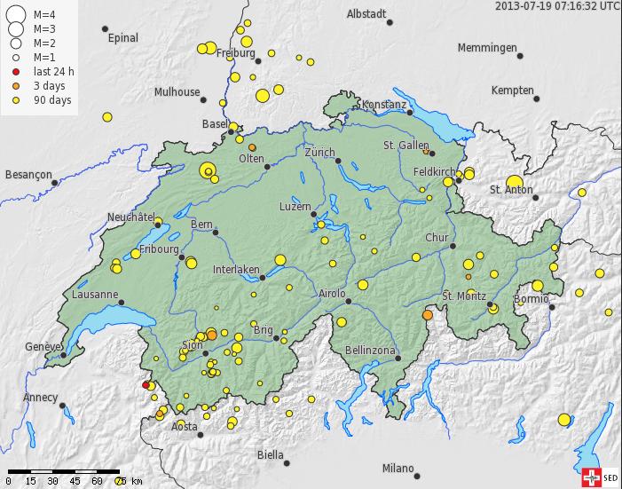 Сейсмологическая активность в Швейцарии за последний месяц