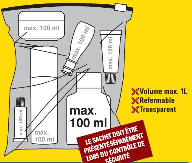 Стандартные требования к провозу жидкости в ручной клади
