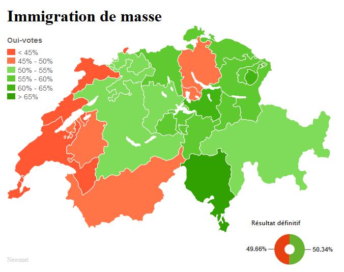 """Карта Швейцарии: зеленым отмечены кантоны, проголосовавшие """"за"""", красным - """"против"""""""