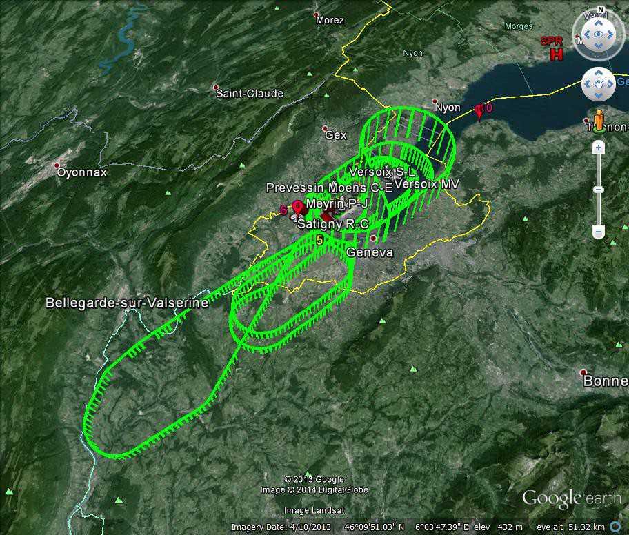 Круги эфиопского самолета над Женевой