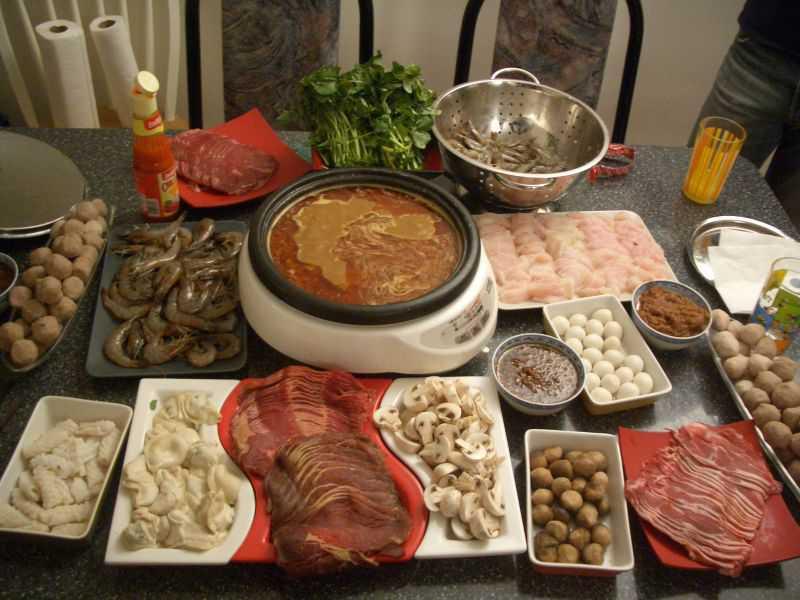 Ингредиенты для фондю по китайски